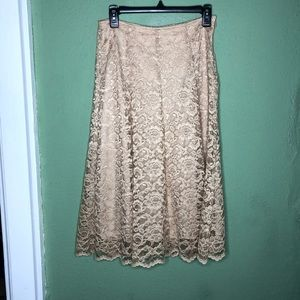 Laura Ashley Gold Lace Midi Skirt Size 6